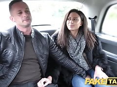 Fake Taxi Horny French wife sharing taxi backseat threesome