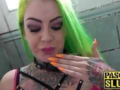 Gagged green haired British sub slut ass fucked from behind