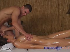 Massage Rooms Amazing natural tits babe gets oily fuck from