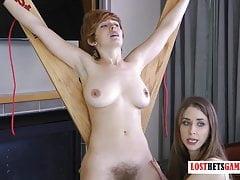 Busty Redhead Gets Her Bushy Pussy Shaved