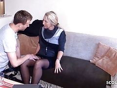 German MILF Brooker Seduce to Fuck by Young Guy for Contract